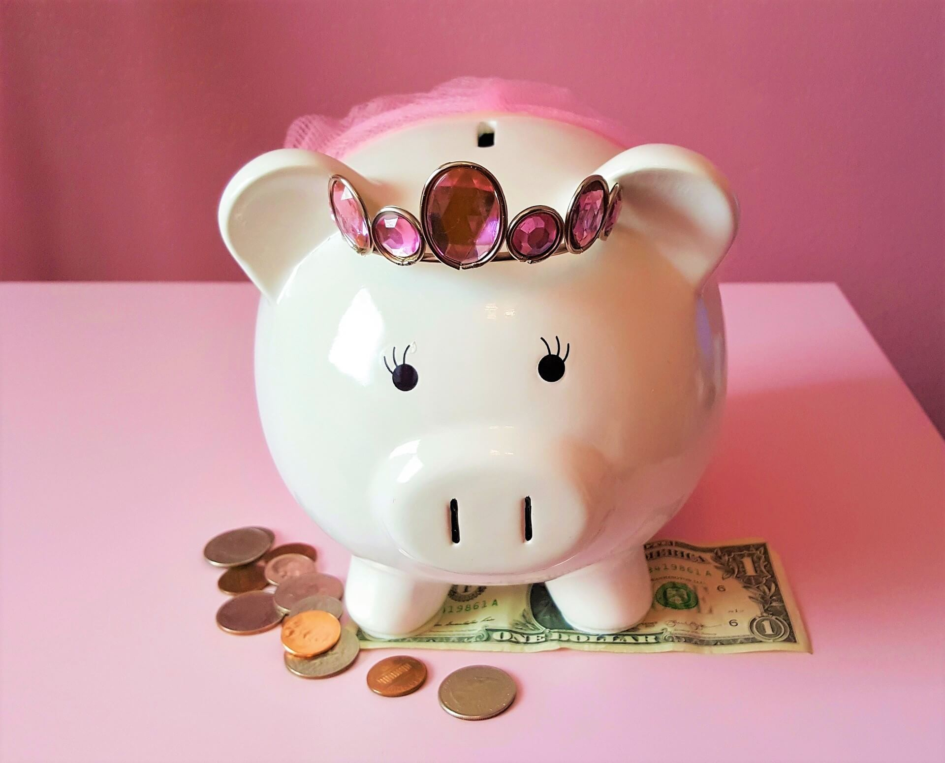 Photo by Brett_Hondow on Pixabay. Pink princes piggy bank.