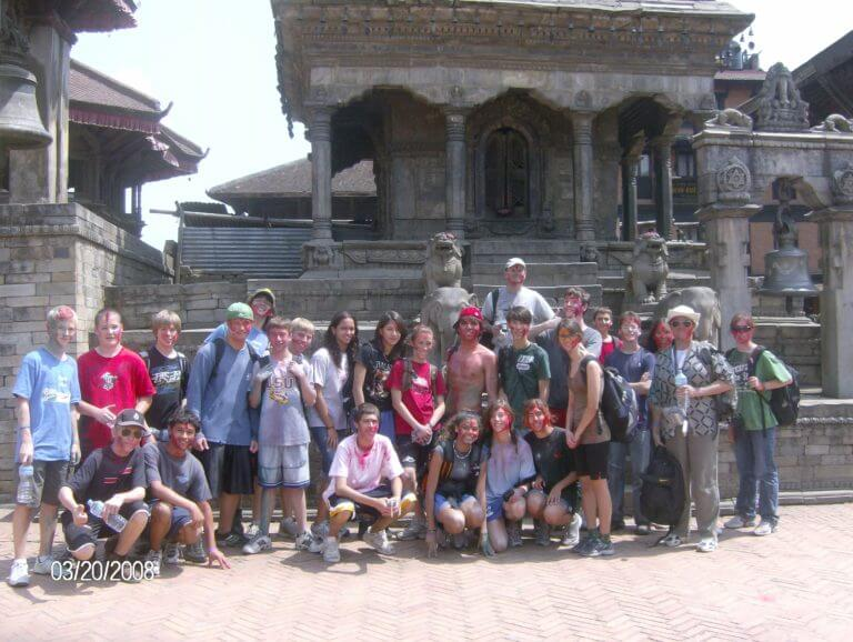 Our group for the chaperoned trip to Nepal in 2008. Happy Holi!