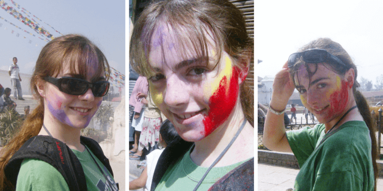 The transition of my appearance throughout Holi, from just a dash of color to a full-on wet rainbow. Happy Holi!
